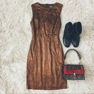 Vince Camino Brown Faux Leather Dress